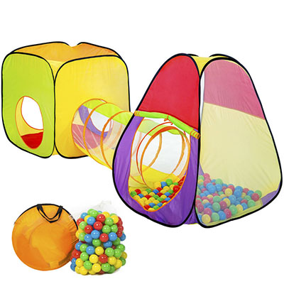 Children's tent pyramid with tunnel + 200 balls + bag